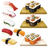 Sushi and rolls, traditional Japanese food, vector illustration