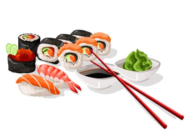 寿司と刺身のセット - わさび点のイラスト素材/クリップアート素材/マンガ素材/アイコン素材