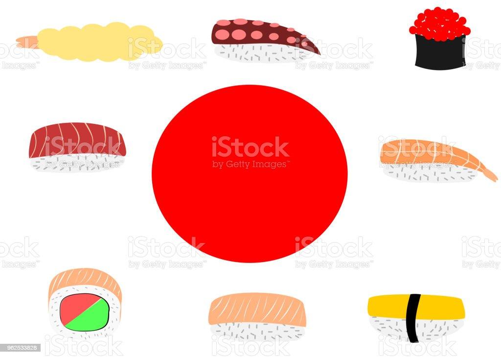 Sushi around Japanese flag - Royalty-free Australia stock vector