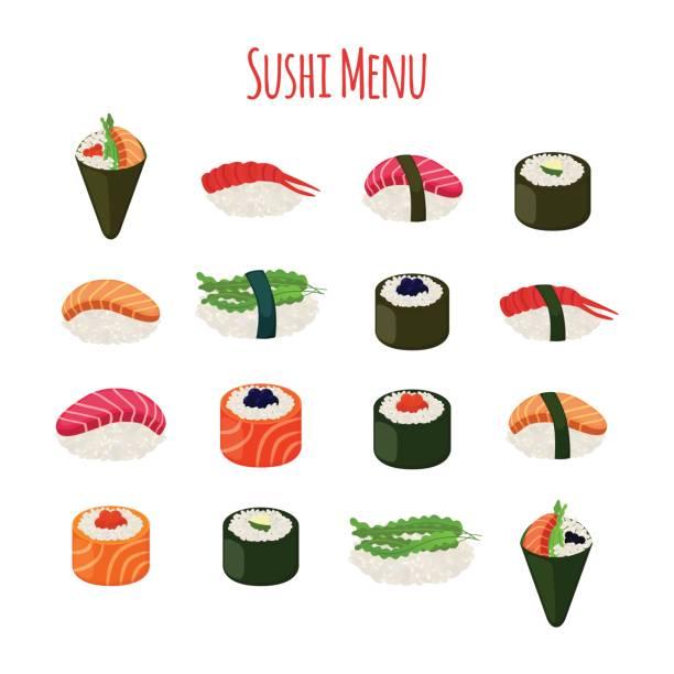 寿司 - 魚、米、海苔、キャビアとアジア料理。ベクトル図 - 寿司点のイラスト素材/クリップアート素材/マンガ素材/アイコン素材