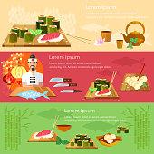 Sushi banners restaurant asian cuisine chef prepares fish