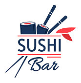 istock Sushi bar emblem, traditional japanese food, seafood restaurant, isolated on white, design, in cartoon style vector illustration. 1312120440