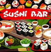istock Sushi bar, Japanese cusine vector japan food. 1279762573
