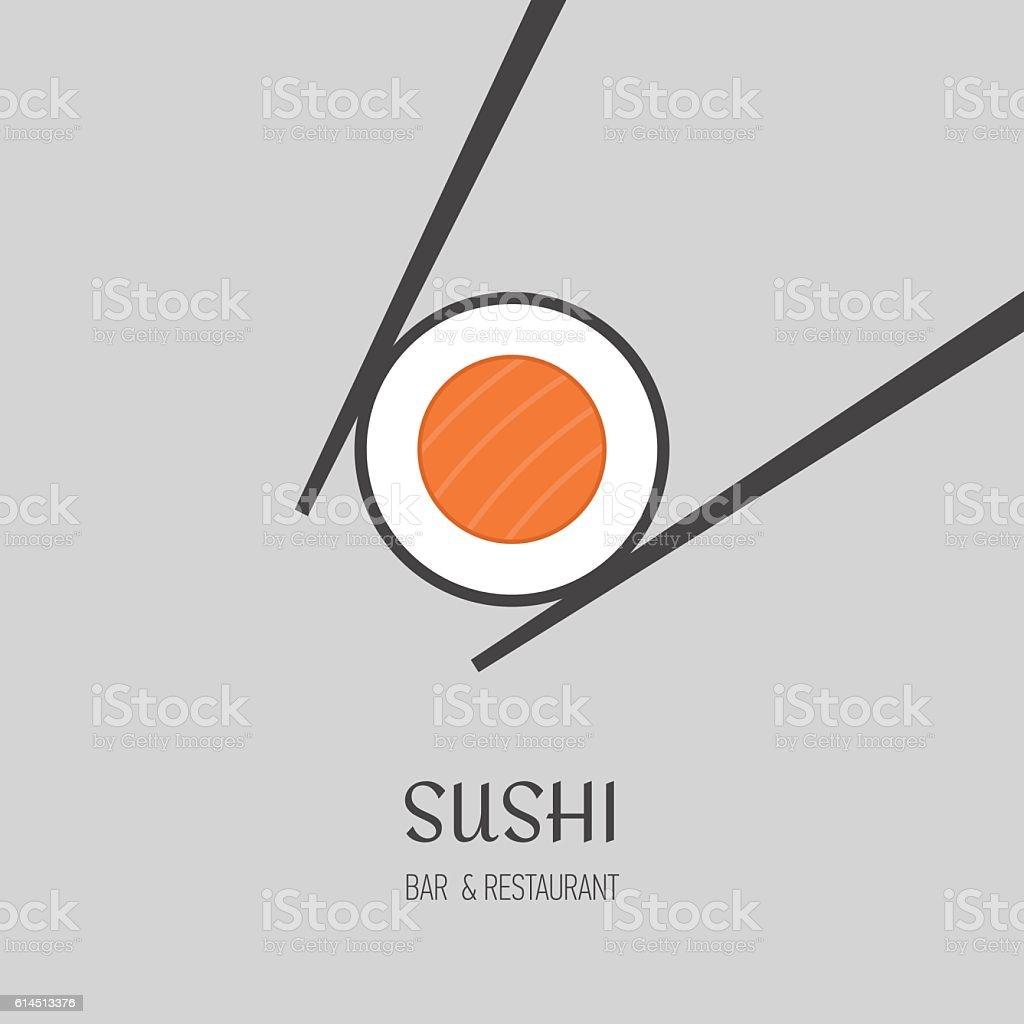 Sushi bar logo. vector art illustration