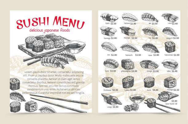 sushi bar munu - japanese food stock illustrations