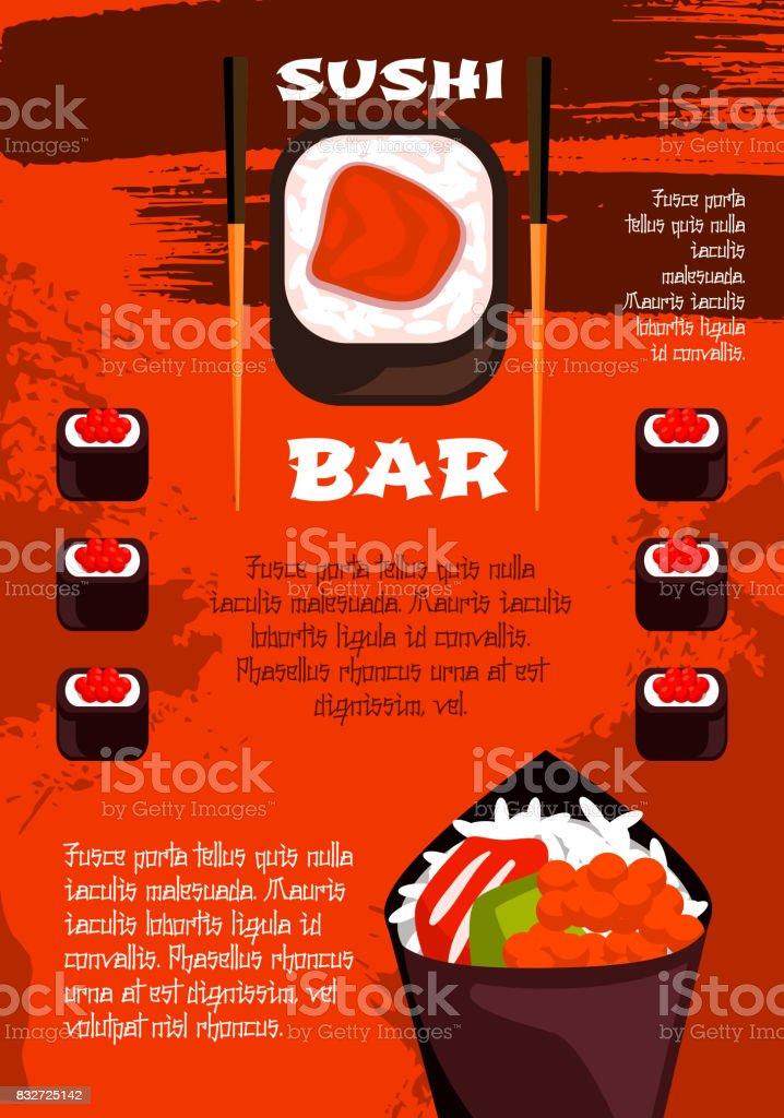 Sushi Bar Plantilla De Cartel Diseño De Cocina Japonesa - Arte ...