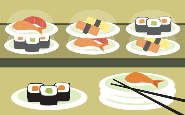 illustrazioni stock, clip art, cartoni animati e icone di tendenza di sushi bar - banchi di pesci