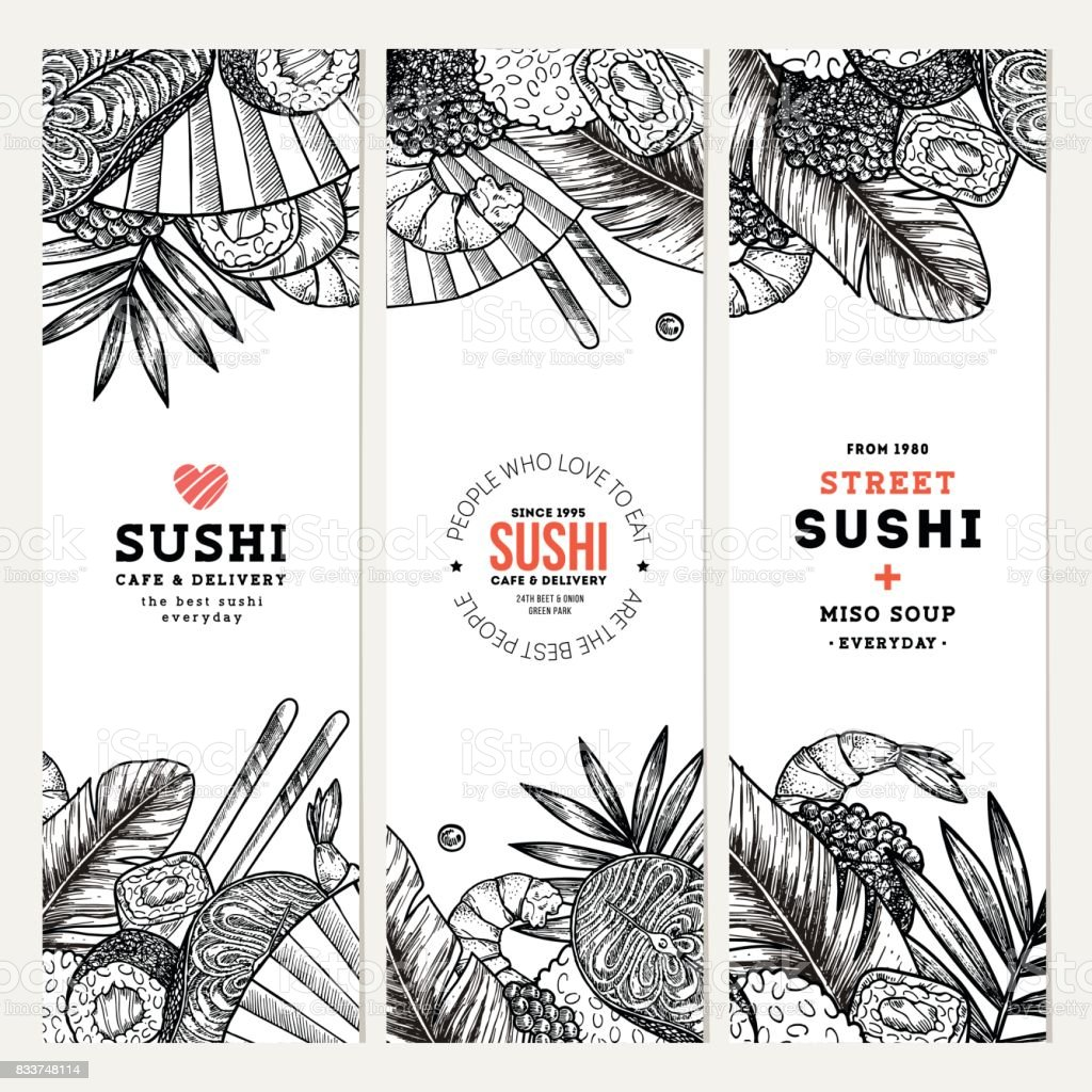 Sushi cafe and restaurant banner collection. Asian food background. Vector illustration vector art illustration