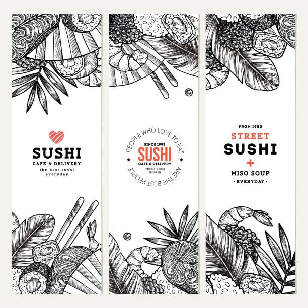 Collection de bannières de café et restaurant Sushi. Fond de la cuisine asiatique. Illustration vectorielle - Illustration vectorielle