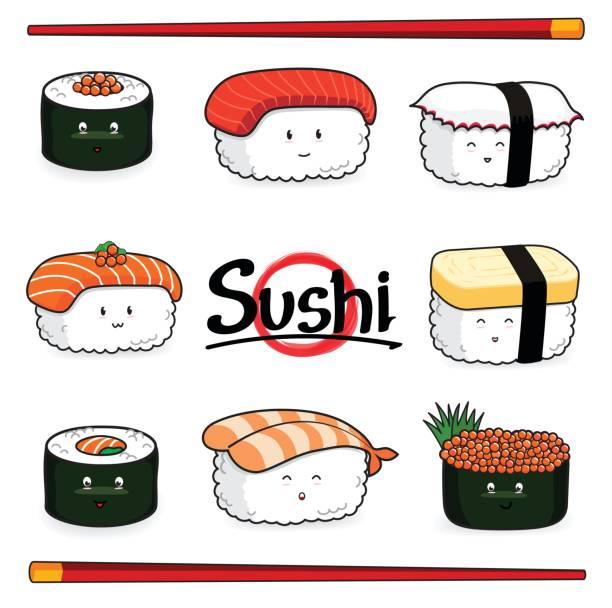 ilustrações, clipart, desenhos animados e ícones de personagem de desenho animado de sushi no fundo branco - sushi