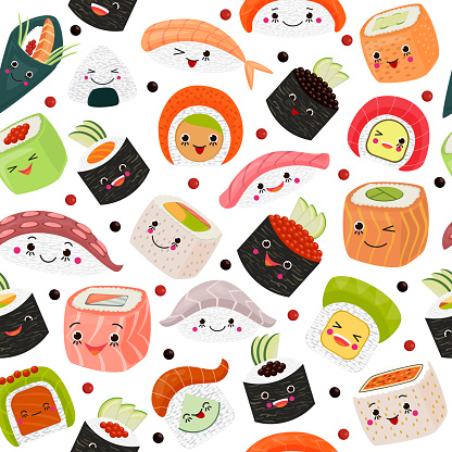 Sushi cartoon japanese food, vector illustration. Cute salmon sashimi with rice, seafood at white background. Cuisine with seaweed