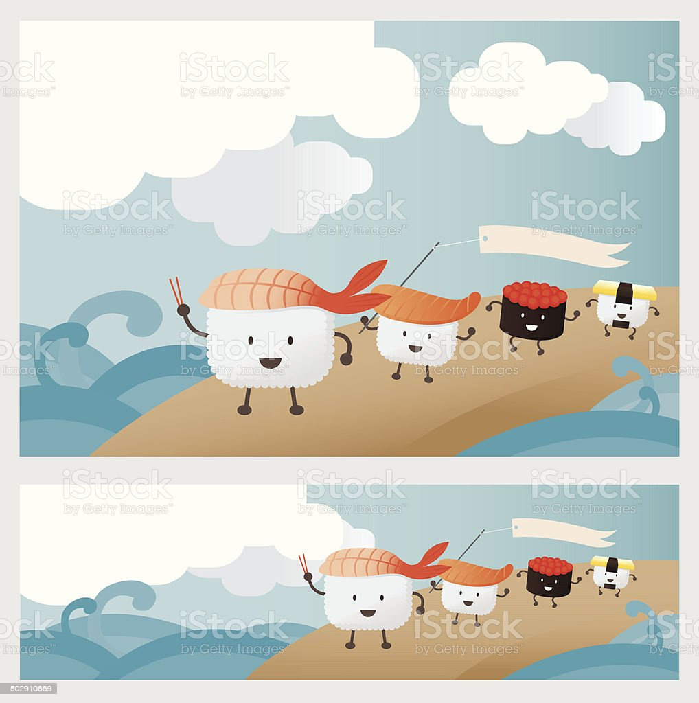 Sushi Character parade on beach royalty-free stock vector art