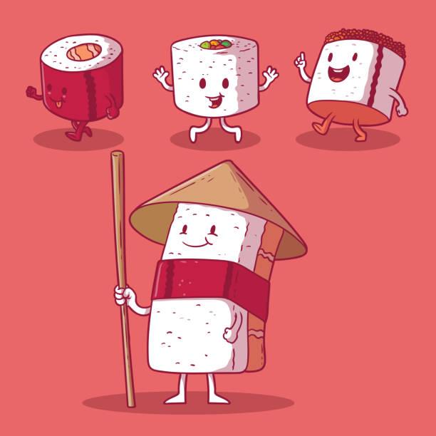 sushi character vector illustration. - sushi stock illustrations
