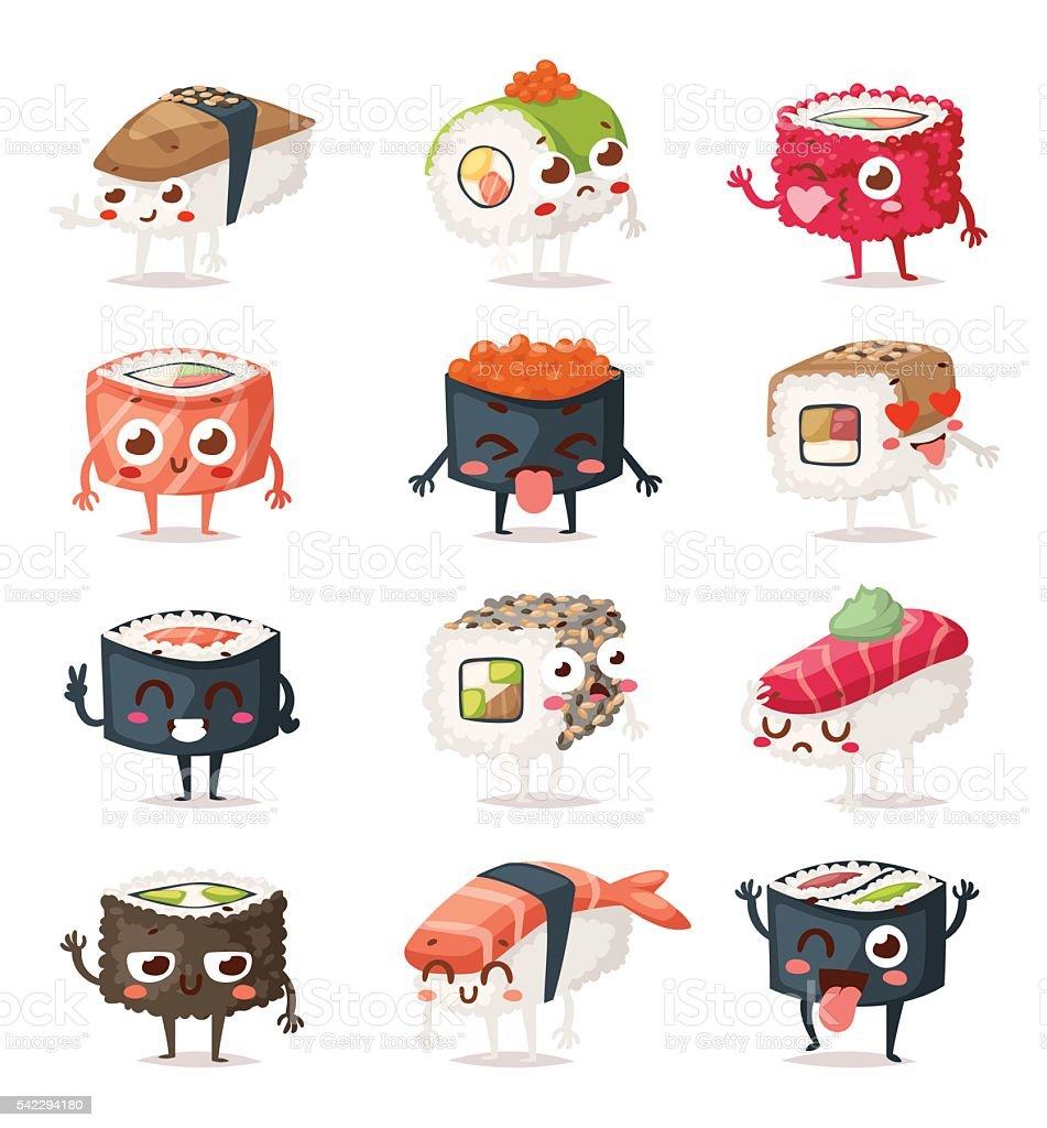 Sushi characters vector set.
