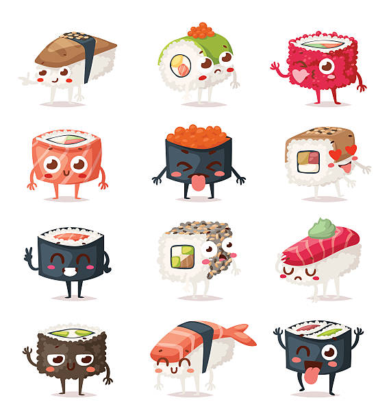 Sushi characters vector set. - Illustration vectorielle
