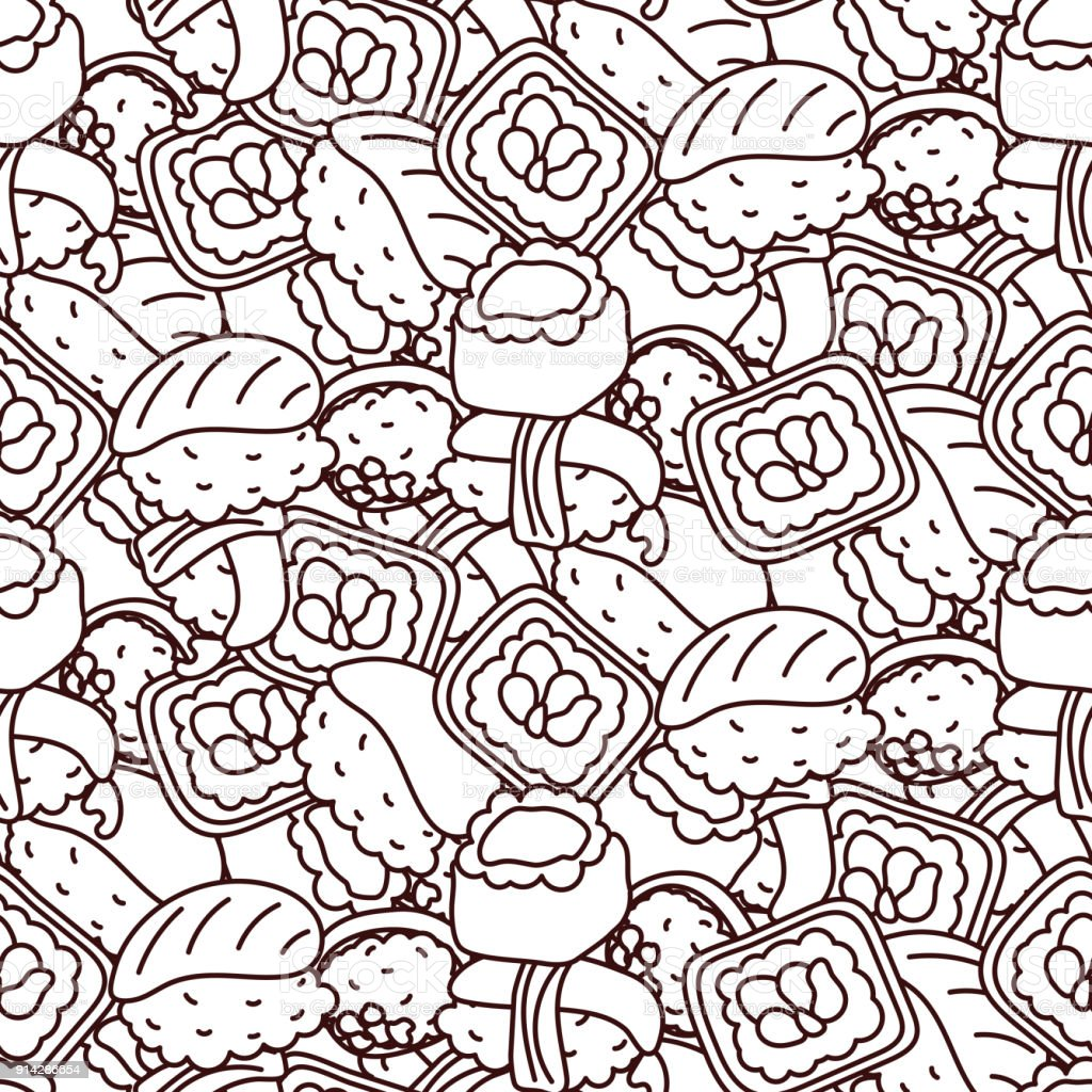Sushi Coloring Page Vector Seamless Pattern Royalty Free Stock