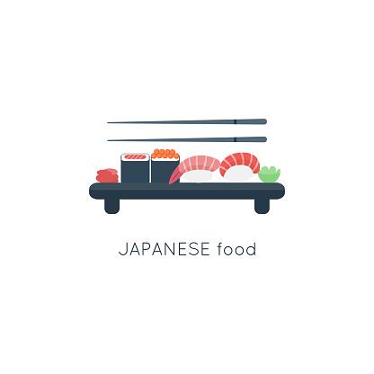 Sushi composition for logo. Japanese food restaurant. Vector illustration. Flat cartoon style.
