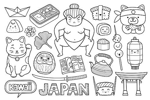 Sushi, daruma doll, origami, maneki neko, sumo wrestler and manga. Famous japanese symbols and elements. Travel to Japan, Tokyo. Outline vector illustration.