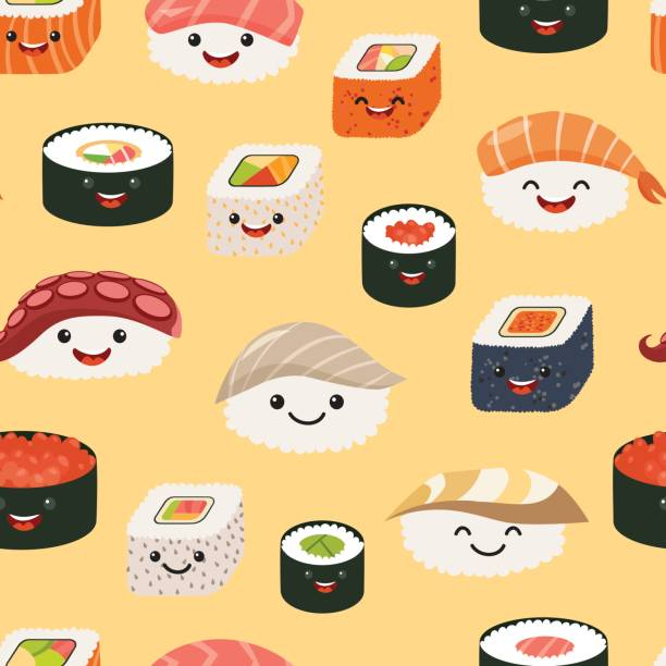Modèle sans couture de sushi emoji, style cartoon - Illustration vectorielle