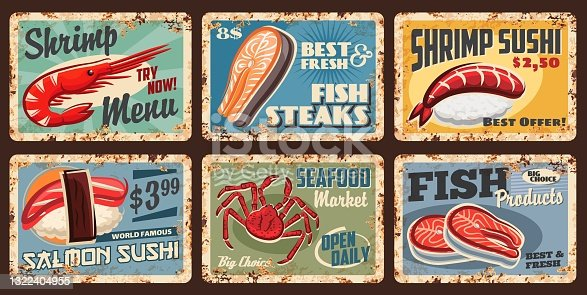 istock Sushi, fish and seafood market metal grunge signs 1322404955