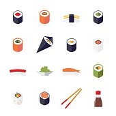 Sushi Flat Design Isolated Vector Icons Collection