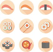 Sushi flat icon set vector illustration. isolated on white