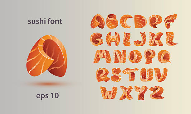 Sushi font template. Salmon fish letter A-Z. - Illustration vectorielle