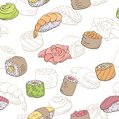 Sushi food graphic color seamless pattern sketch illustration vector