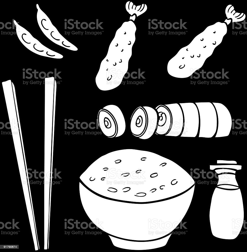 Sushi Food Items Line Art vector art illustration