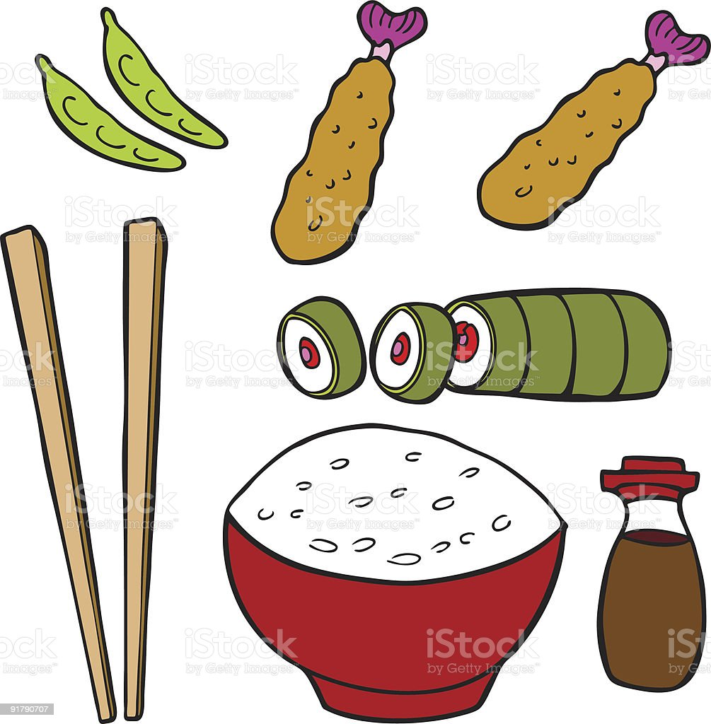 Sushi Food Items vector art illustration