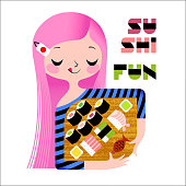 Cute anime-girl holds a tray with sushi variations.