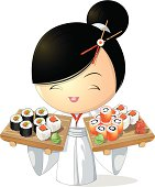 girl chef that keeps sushi in hand , on a white background