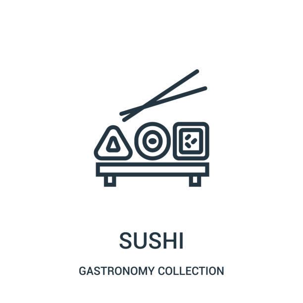 美食コレクションコレクションの寿司アイコンベクター。細い線寿司アウトラインアイコンベクトルのイラスト。 - 和食点のイラスト素材/クリップアート素材/マンガ素材/アイコン素材