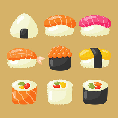 sushi icons set. japanese food on brown background. vector illustration.