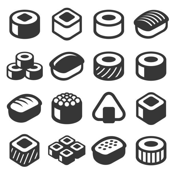 illustrazioni stock, clip art, cartoni animati e icone di tendenza di sushi icons set on white background. vector - banchi di pesci