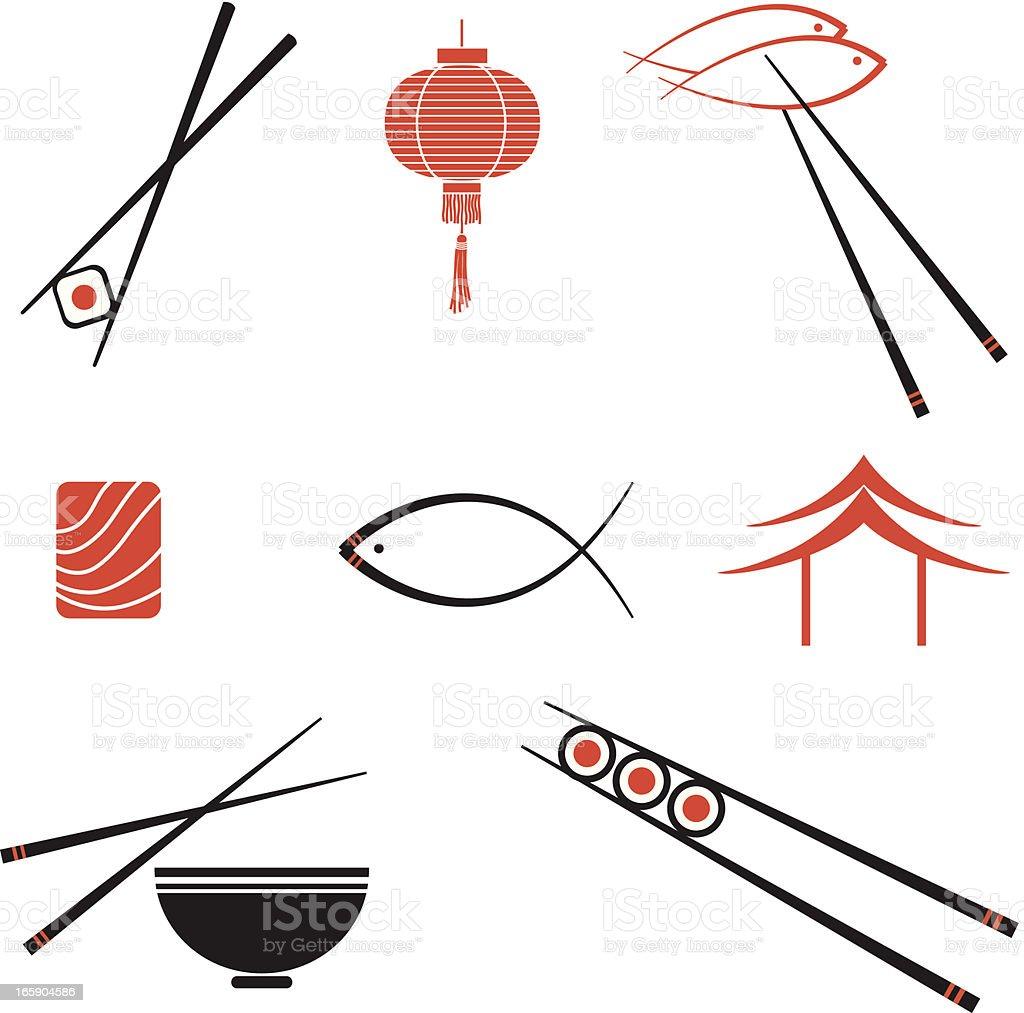 Iconos de Sushi - ilustración de arte vectorial