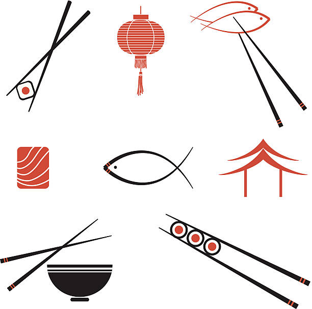 sushi  icons - japanese food stock illustrations