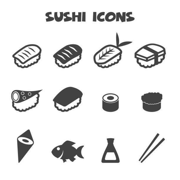 sushi icons - sushi stock illustrations