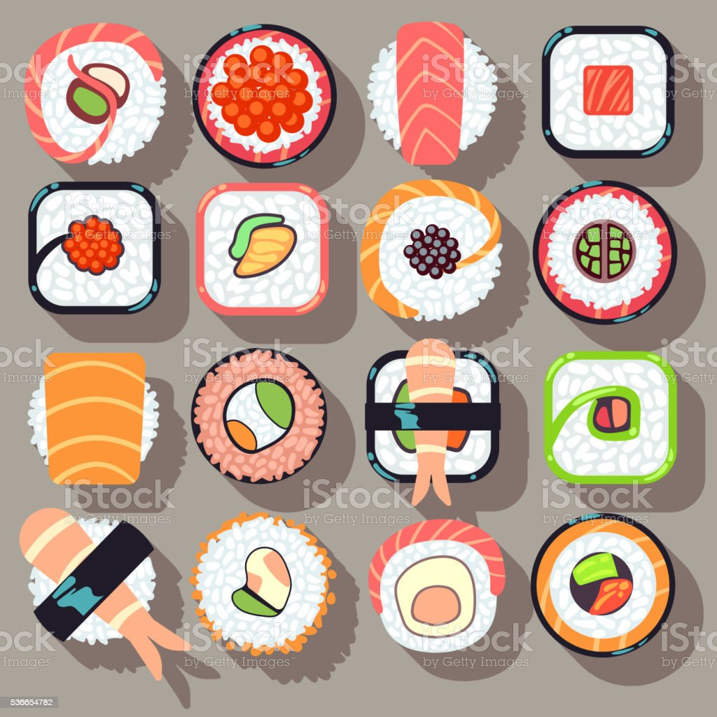 Sushi japanese cuisine food flat vector icons