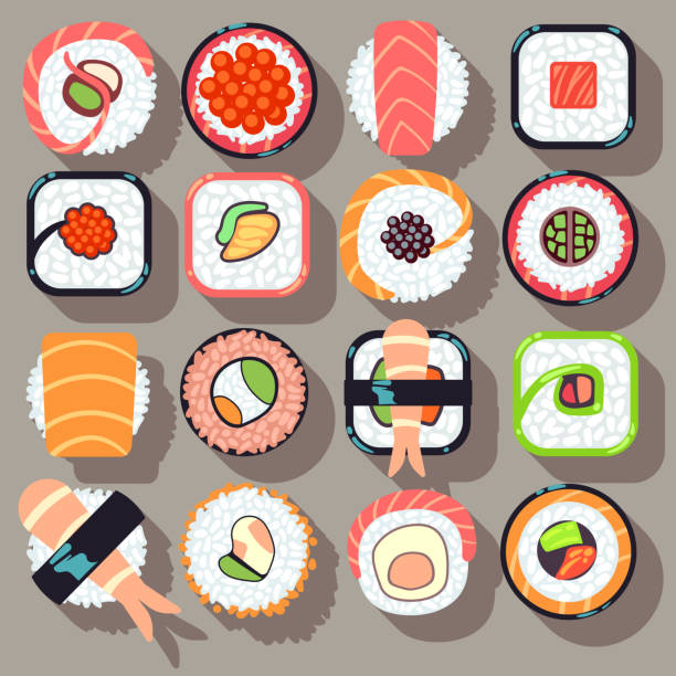 sushi japanese cuisine food flat vector icons - sushi stock illustrations