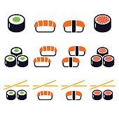 Sushi - Japanese food vector icons set