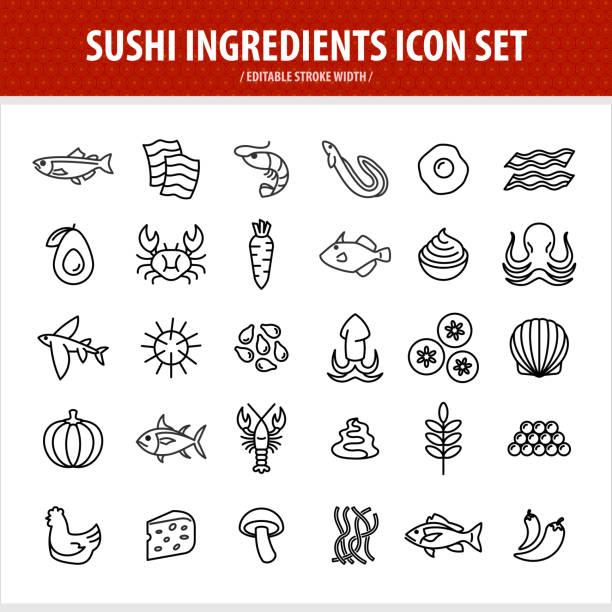 sushi line icons set. sushi and sashimi components - sushi stock illustrations