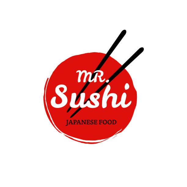 sushi logo. vector - japanese food stock illustrations