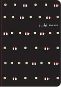 Sushi menu cover template. Sushi icons.
