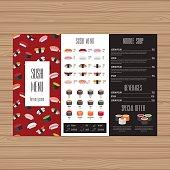 Sushi menu design. Tri-fold leaflet layout template. Japanese food restaurant brochure with modern graphic. Vector illustration.