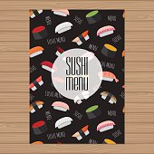 Sushi menu design. A4 size layout template. Cover restaurant brochure with modern  graphic. Japanese cuisine. Vector illustration.