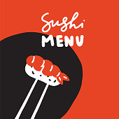 Sushi menu. Hand drawn illustration of sushi and chopsticks on red background. Ideal for menu template. Made in vector