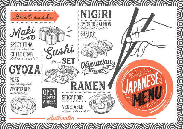 sushi menu restaurant, food template. - japanese food stock illustrations