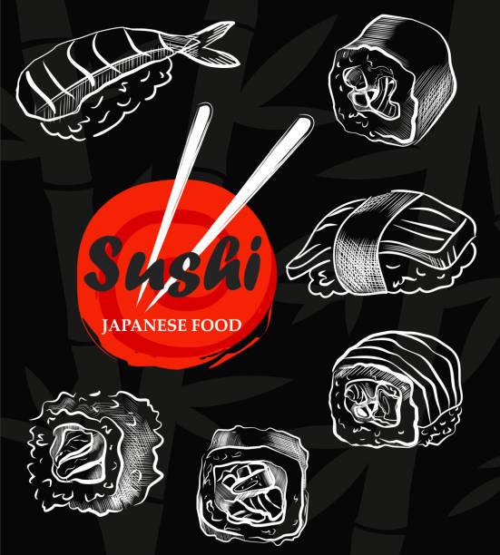 sushi menu sketch cover.vector clip art illustration. - sushi stock illustrations