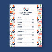 Sushi menu, vector template for sushi shop, cafe or delivery restaurant, menu card layout, doodle illustrations of maki, nigiri and uramaki rolls, brochure or booklet with traditional japanese food